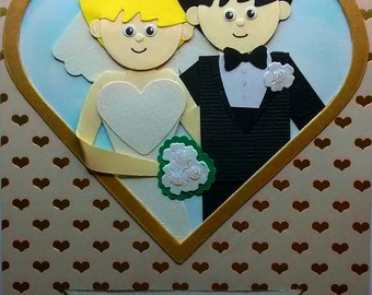 Wedding card with a bride and groom