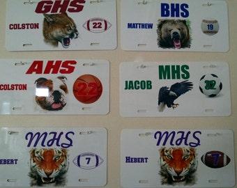 School Team Spirit License Plate,custom metal license plate,personalized football license,school spirit license plate,monogram license plate