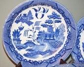 Vintage Blue Willow Japan Flat Soup Bowls