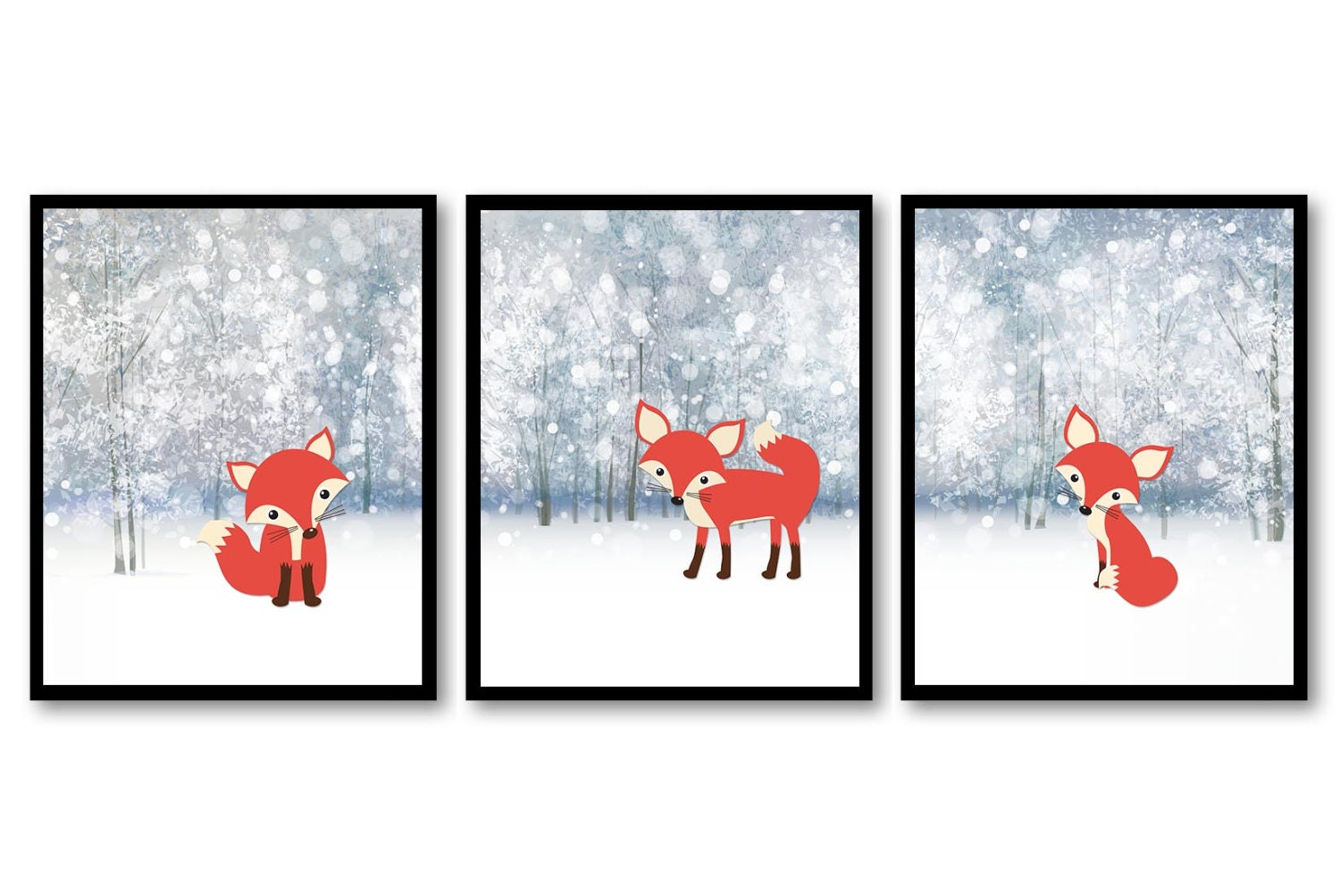 Fox Nursery Art Woodland Tree Nature Landscape Prints Set of 3 Baby Wall Decor Foxes Forest Woodland