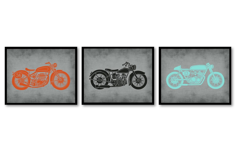 Motorcycle Nursery Art Nursery Transportation Set of 3 Prints Orange Turquoise Blue Grey Black Boys