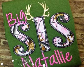 Sibling Camo Sister  shirt Little SIS Big SIS, little sister little brother big sister big brother