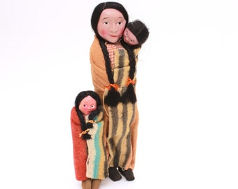Native American Indian Skookum Dolls, Squaw Papoose Dolls, Indian Doll Blanket, 1940s Tourist Era, Celluloid Skookum, Squaw Skookum & Baby