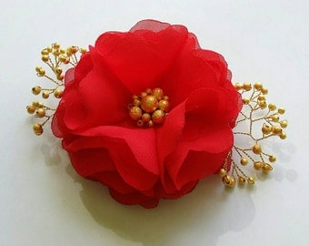 Red flower hair clip/comb Flower for hair Red/Golden accessory Bridesmaids accessories