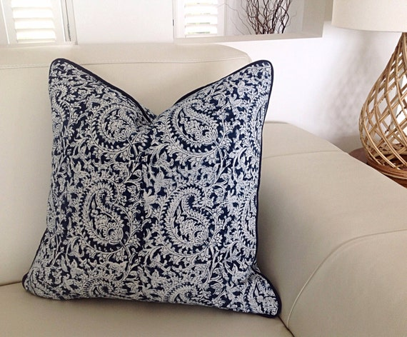 Navy Blue And White Paisley Cushions Paisley Pillows Blue