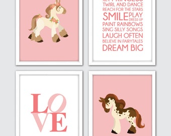 Safari nursery prints baby animal artwork jungle animals horse nursery wall prints horse nursery set of 4 equestrian baby gift horse negle Choice Image
