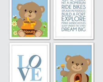 Baby Boy Nursery Art, Teddy Bear Nursery Art, Woodland Wall Print, Bear  Print