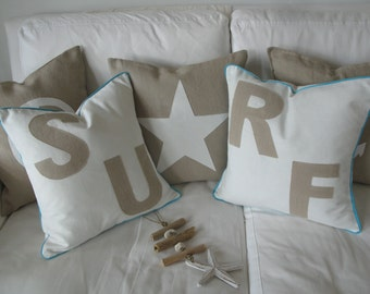 "2x Linen Pillow/cushion  ""SU""RF"")Message"