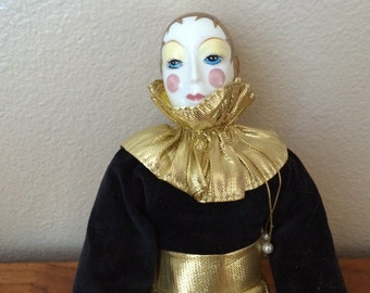 "16"" Porcelain Jester Clown Doll from the Doll Collectors 1983"