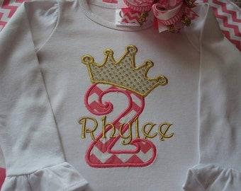 Princess themed birthday shirt / Birthday crown no. shirt / Appliqued birthday shirt / Little girl's birthday shirt