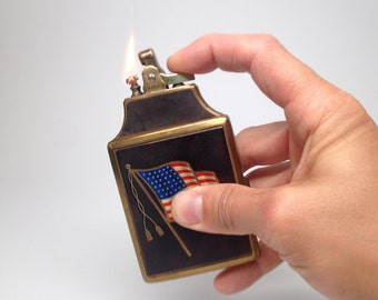 AMERICAN FLAG LIGHTER - Vintage Ronson Mastercase Antique Patriotic Lighter Cigarette Case Combo with Case and Bag