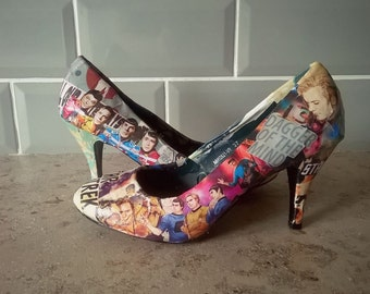 Custom Made Low-Heeled Comic Book Shoes