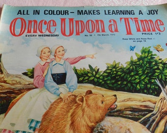 CLEARANCE SALE-Vintage Comic Magazine-Once Upon a Time-Children Magazine-All in Colour-Makes Learning a Joy-Weekly-Number 56-7th March 1970