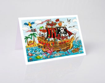 Greeting Card, Shiver Me Timbers! Jenny laidlaw cards, cards for children, pirate