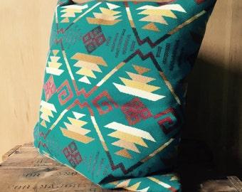 Turquoise Modern Wool Pillow, Native American Geometric Design, Pendleton Blanket, Down Insert