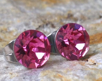 Rose Swarovski Crystal Chaton Earrings in Hypoallergenic Stainless Steel Posts - 6mm
