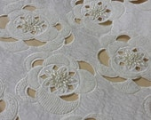 Beaded ivory lace fabric, Sequin lace, French lace, Chantilly lace, Bridal lace, Wedding lace White lace Embroidered Floral lace IT92192