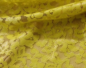 Yellow lace fabric with silver glitter by the yard, French Lace, Alencon Lace, Bridal gown Wedding Lace Garter lace Evening dress Lingerie
