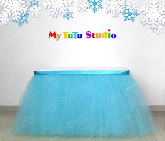 turquoise blue tulle table skirt table tutu for blue winter