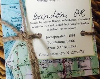 Bandon Oregon Map Stone Coasters