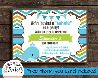 Printable First Birthday Invitation - Whale 1st Birthday Invite with FREE Thank You Card