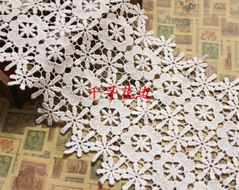 White Cotton Lace Fabric flower  Water soluble Embroidery lace Trim 22 cm wide