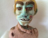 Zombie Head and Bust with Boils, Needle Felted 100% Wool, Mint Green Skin, Original OOAK 3D Sculpture - Richly Detailed (FREE U.S. shipping)