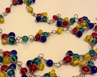 Vintage Coloured Czech Glass Wire Beadwork Necklace