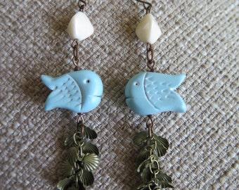 aqua earrings, blue earrings, fish earrings, seashell earrings, vacation earrings, beach earrings, shore earrings, long earrings, fun gift