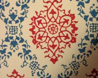 HOLD - 1950s ORIGINAL Blue & Red Damask Wallpaper - Retro Vintage