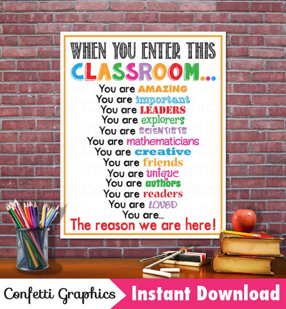 When You Enter This Classroom Rules Teacher Appreciation Sign Poster Inspirational Motivational Classroom Subway Wall Art ~ Instant Download