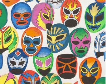 Máscaras de Peleá in Natural, 100% cotton  by Alexander Henry Fabric by the Yard Wrestlers Masks Lucha Libre Masks