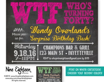 40th Surprise Birthday Party Invitation, WTF Who's Turning Forty Adult Birthday invitation. Custom Printable PDF/JPG. Choose your colors.