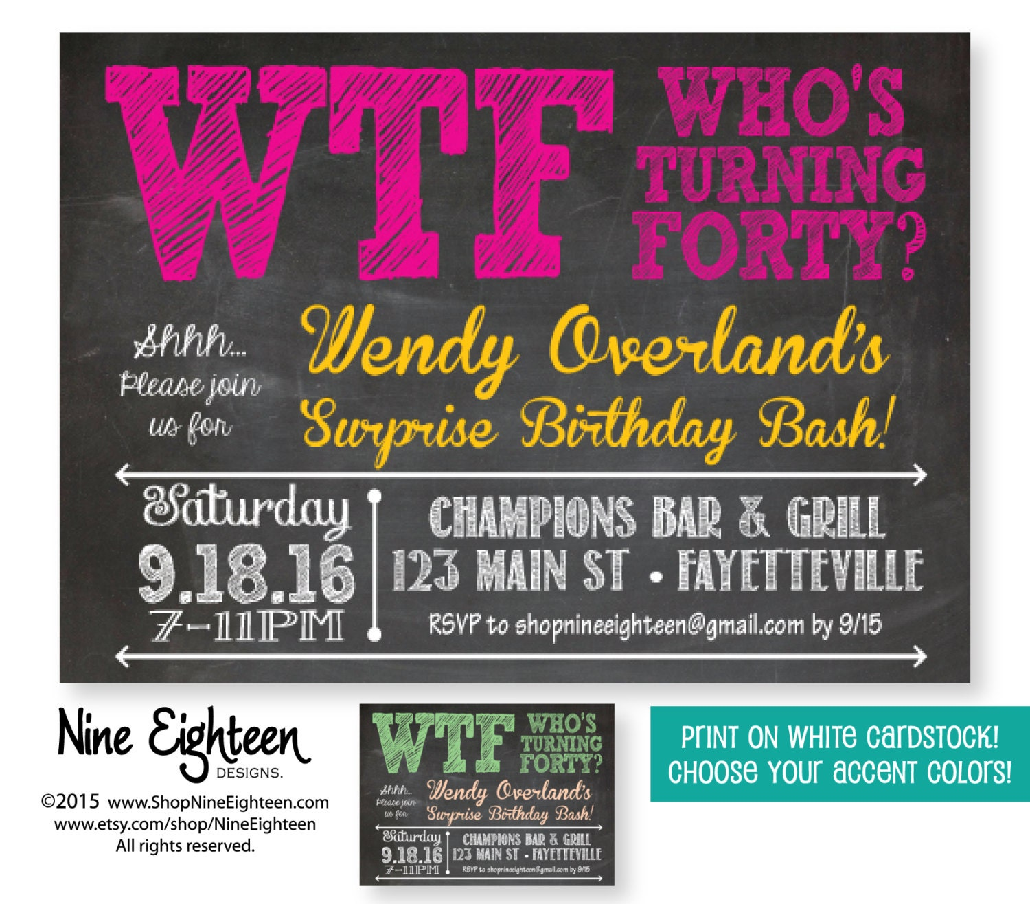40th Surprise Birthday Party Invitation WTF Who's By