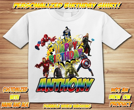 Avenger & Super Hero Birthday Personalized T Shirt ~   Comic, marvel, avengers, captain america, iron man, hulk, spiderman, batman