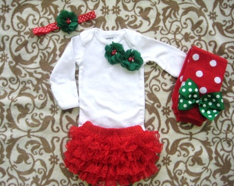 Baby Girls Christmas outfit-Pretty Green Flower Bodysuit, LegWarmers, Diaper Cover & Headband Set, Dressy Christmas Outfit for baby girls