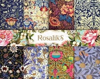 Floral Ornaments Digital Paper Pack, Digital collage sheet, Decoupage paper, Scrapbooking Paper, Floral Paper Packs,