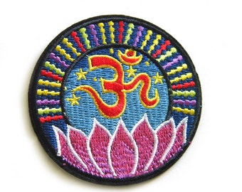 "Embroidered Om Patch - Iron or Sew On Applique - 3"" - Ohm Aum Chakra"