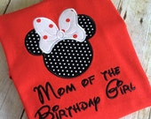 Mom of the Birthday Girl or Boy with a Minnie Silhouette and Bow on a Red T-shirt.  Inspired by Minnie Mouse and Disney