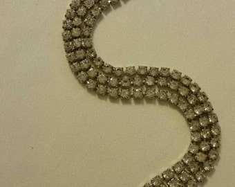 Sterling Silver Rhinestone Bracelet with Security Chain circa 1940s