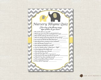 Elephant Nursery Rhyme Quiz Baby Shower Game - Yellow Elephant Nursery Rhyme Baby Shower Game, Printable Baby Shower Games, Printable, DIY