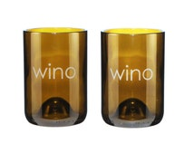 Set of Two Wino Etched 14 oz Amber Wine Bottle Glasses
