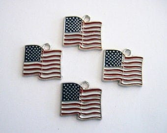 Stars and Stripes  Patriotic American Flag Metal Enameled Pendant/Charms  Red, White & Blue 2 in a Pack CLJewelrySupply