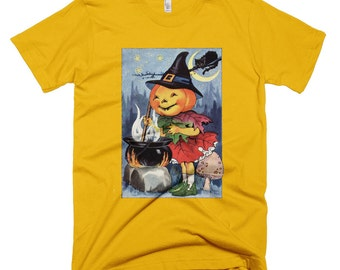 Child's Halloween Shirt-vintage Image Jack-o-lantern witch stirring potion