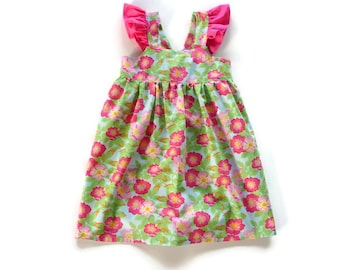 Little girls summer dress to fit a 5 year old, girls cotton dress  by Natural Kids Clothing