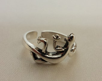 Adjustable Lizard Ring - .925 Sterling Silver - Toe Ring or knuckle ring
