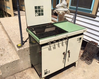 Antique 1921 Magic Chef Stove Turned Into Outside Barbeque Grill, (Charcoal) & Smoker