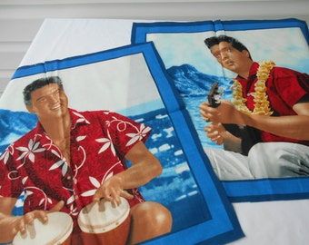 """QUILTSY DESTASH PARTY Elvis Blue Hawaii panels suitable for pillow tops or other projects by Cranston Print Works 17"""" square"""