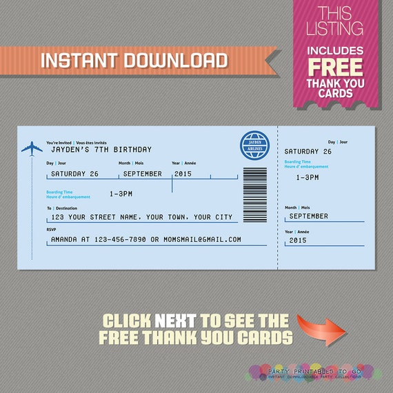 Airplane boarding pass invitation with free thank you card il570xn filmwisefo