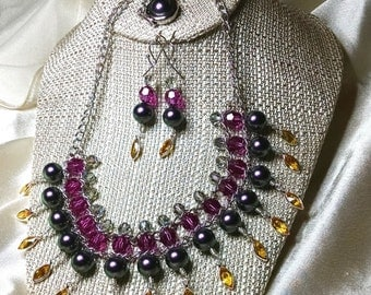 Be A Goddess Multi-Layered Statement Necklace and Earrings embellished with crystals from Swarovski®